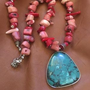Red coral necklace with turquoise pendant